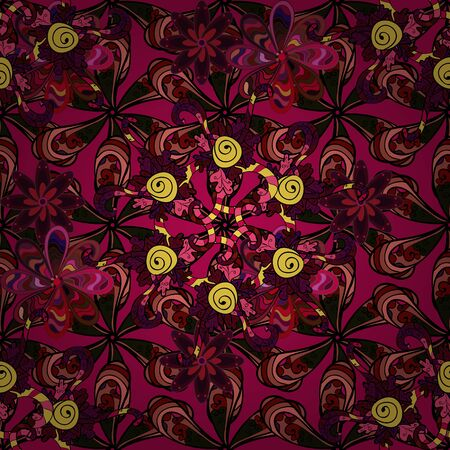 In asian textile style on red, black and purple colors. Seamless flowers pattern. Raster illustration.