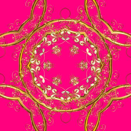 Ornamental floral elements with henna tattoo, golden stickers, mehndi and yoga design, cards and prints. Pattern on magenta and brown colors. Vector golden mehndi seamless pattern. Banque d'images - 131337714
