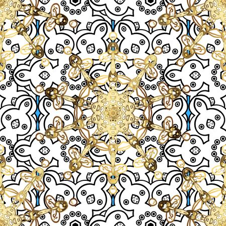 Oriental style arabesques. Seamless golden texture curls. Openwork delicate golden pattern. Seamless pattern on black and white colors with golden elements. Brilliant lace, stylized flowers. Vector.