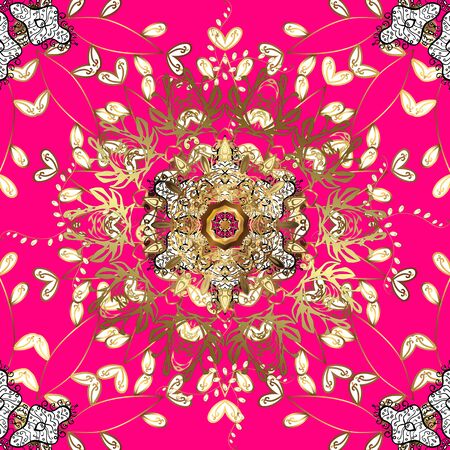 For wedding invitation, book cover or flyer. Magenta, brown and white colors with colored ornament mandala, based on ancient greek and islamic ornaments.