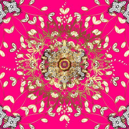 Voor huwelijksuitnodiging, boekomslag of flyer. Magenta, bruine en witte kleuren met gekleurde ornamentmandala, gebaseerd op oude Griekse en islamitische ornamenten.