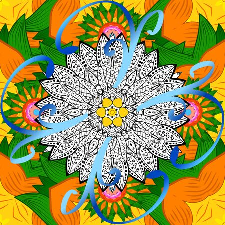Vector Mandala. Tiled mandala design, best for print fabric or papper and more. White, orange and green colors. Boho style flower seamless pattern.