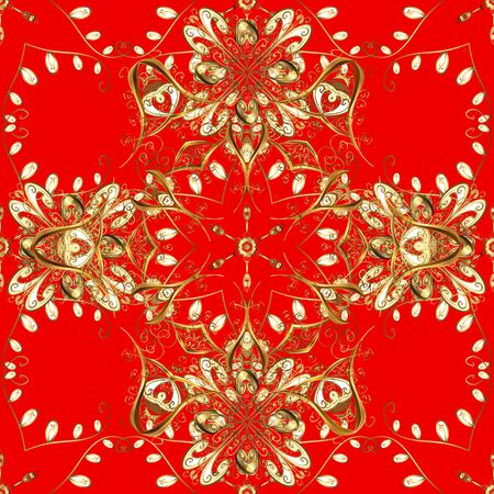 Vintage seamless pattern on a brown and red colors with golden elements. Vector illustration. 写真素材