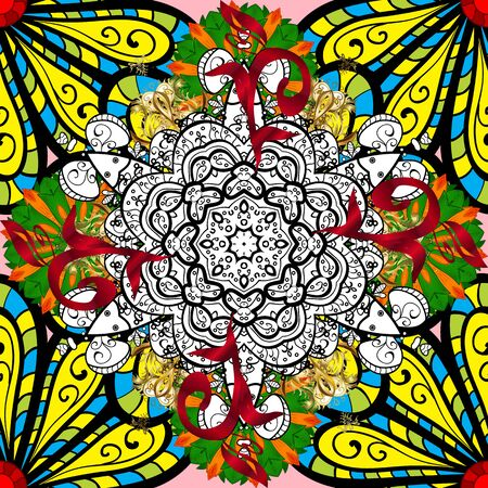 Vector ornate zentangle seamless texture, pattern with abstract floral mandalas on black, white and yellow colors. Summer seamless pattern with stylized flowers. Can be used for sketch, web page.