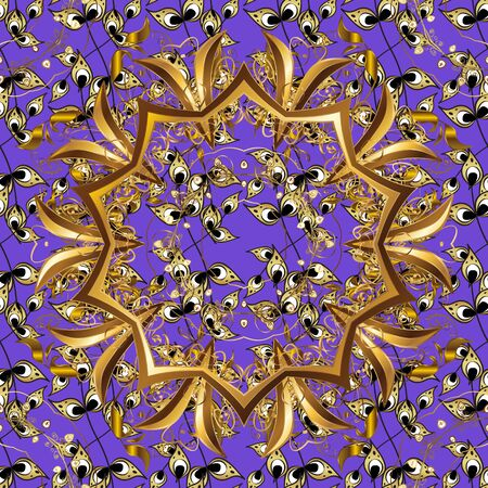 Golden element on brown and violet colors. Golden floral ornament in baroque style. Antique golden repeatable sketch. Damask seamless pattern repeating background.