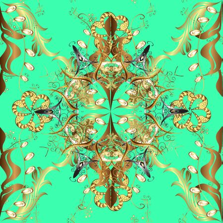 Can be used for sketch, web page. Vector ornate zentangle seamless texture, pattern with abstract floral mandalas on green, yellow and brown colors. Summer seamless pattern with stylized flowers.