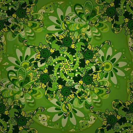 Seamless pattern Gentle, spring on green, yellow and black colors. Raster illustration. Watercolor painting.