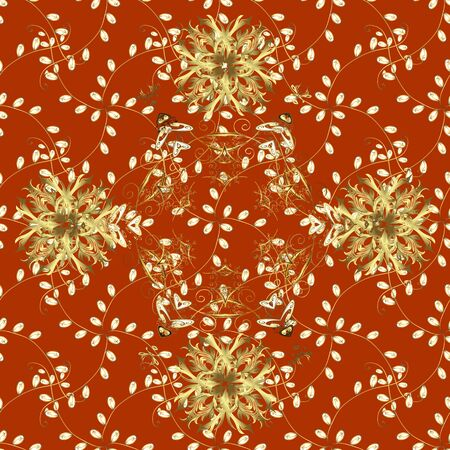 Seamless classic golden pattern. Vector traditional orient ornament. Golden pattern on yellow and orange colors with golden elements.