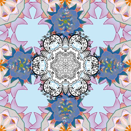 Flowers on blue, white and neutral colors in watercolor style. Seamless Floral Pattern in Vector illustration.