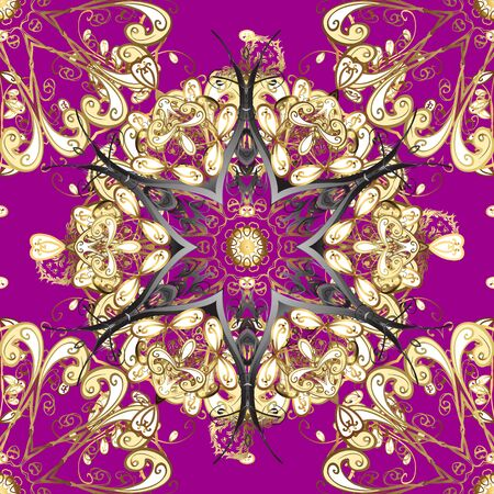 Vector doodle seamless pattern with ethnic mandala ornament on a purple, brown and beige colors. Outline.