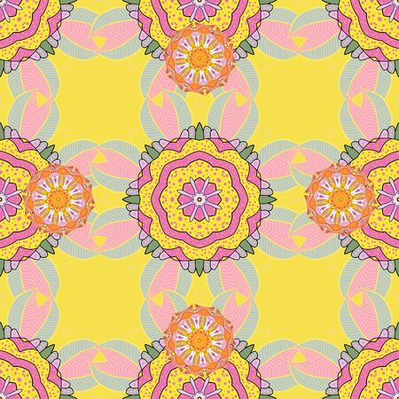 Seamless pattern with abstract ornament. Vector Hand drawn zentangle floral pink, yellow and neutral colors. 스톡 콘텐츠
