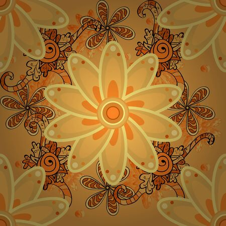 Flowers on black, yellow and orange colors. Flat Flower Elements Design. Seamless Floral Pattern in Raster illustration. Colour Spring Theme seamless pattern Background. Stok Fotoğraf