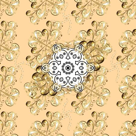 Outline. Vector doodle seamless pattern with ethnic mandala ornament on a white, brown and beige colors.