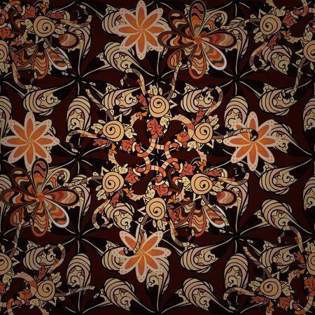 Fancy fabric pattern. Colour Spring Theme seamless pattern Background. Flat Flower Elements Design. Seamless Floral Pattern in Raster illustration. Stok Fotoğraf