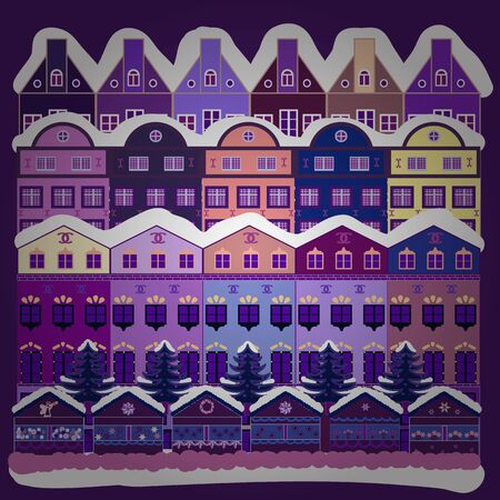 Picture on white, purple and violet colors. Vector pattern with houses. Çizim