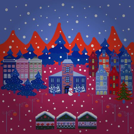 Postcard on red, blue and pink colors. Amazing fairy house decorated at christmas style. Unusual christmas illustration. Landscape in magical forest. Vector illustration.