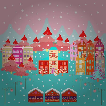 Colorful pattern with house, trees, snowman, mountains and hills. Illustration on pink, neutral and blue colors. Perfect for kids fabric, nursery sketch. Vector. Nice nature landscape concept.