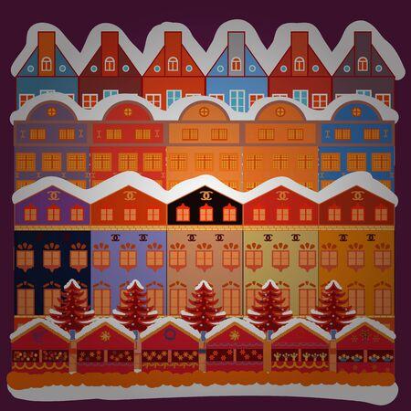 Vector illustration. Illustration on orange, white and purple colors. Colourful houses on fancy landscape.