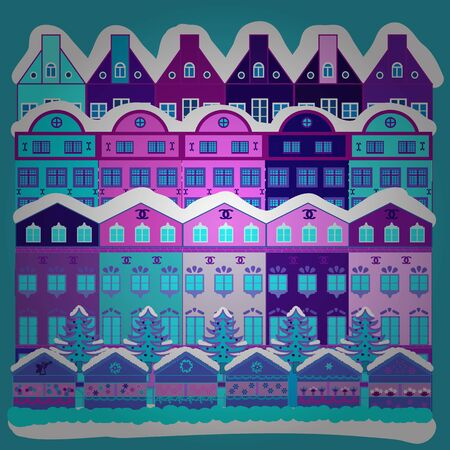 Vector illustration. Of a country house in a flat style. Elementson a violet, blue and white colors background.