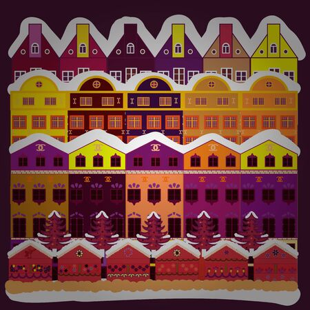 Merry christmas card with house. Cute buildings on purple, white and orange colors. Vector illustration. Happy new year.