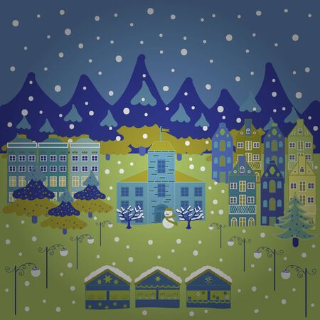 Colorful houses. Vector illustration. Background with cute buildings on blue, yellow and green colors.