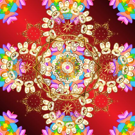 Bohemian decorative element, indian henna design, retro circle ornament on red, yellow and brown. Pattern with art flower for Tibetan yoga. Mandala colored, tribal vintage background with a medallion. Banque d'images - 131337531