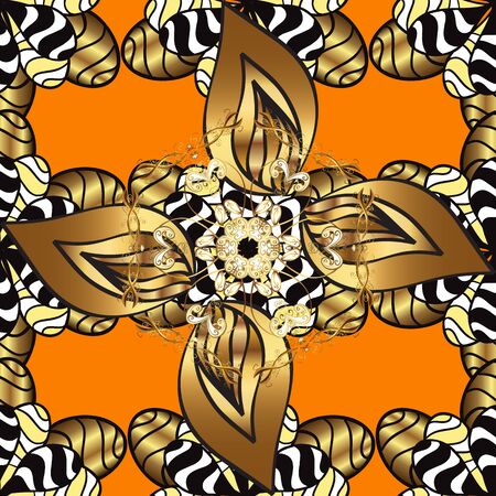 Pattern on orange and brown colors with golden elements. Classic vintage background. Classic vector golden pattern. Traditional orient ornament.