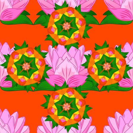 Seamless Floral Pattern in Vector illustration. Flowers on orange, pink and green colors. Çizim