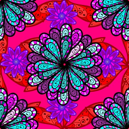 On red, magenta and black colors. Seamless decorative background, flower mandala. Flower. Vector illustration.