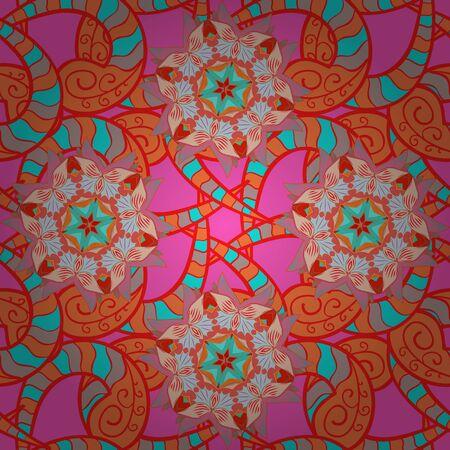 Seamless decorative background, flower mandala. Vector illustration. On pink, red and orange colors. Flower.