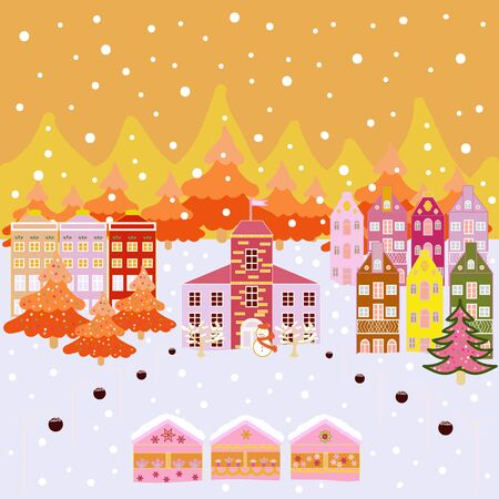 Vector. Winter. Mountain landscape. Lonely house on a hill. Cloudy winter landscape. Christmas illustration on yellow, orange and gray colors.