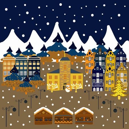 Colorful pattern with houses, trees and mountains. Cute nature landscape concept on white, brown and blue colors. Perfect for kids fabric, textile, nursery sketch. Çizim