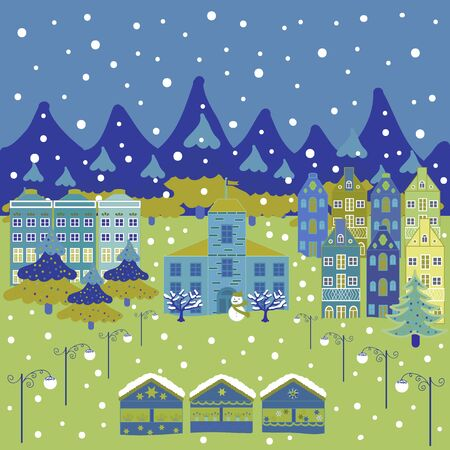 For design background. Panorama on yellow, blue and green colors. A fairytale village with bright houses and trees, hills, mountans, snowman. Vector illustration.