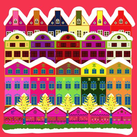 Freehand drawn cartoon style. Among hills. Vector village countryside scene background. Rural community on green, pink and white colors. Colorful cute outdoors landscape. Çizim