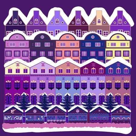Vector illustration. Vector pattern with various cartoon houses. Christmas illustration on white, purple and violet colors.