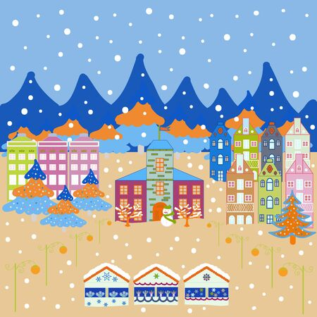 Vector illustration. Winter houses for Christmas and Christmas fabrics packaging paper and decor on neutral, blue and beige colors. Çizim