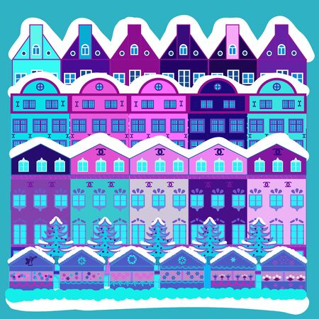 Vector illustration. Doodle houses vector background. Nice buildings on violet, blue and white colors. 向量圖像