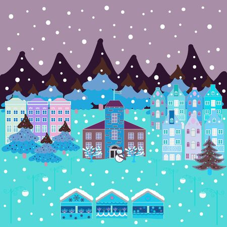 Vector illustration. Cute buildings on blue, brown and neutral colors. Happy new year. Merry christmas card with house. Çizim