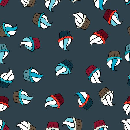 Wrapping paper. For food poster design on white, blue and green. Seamless with cupcakes. Vector illustration.