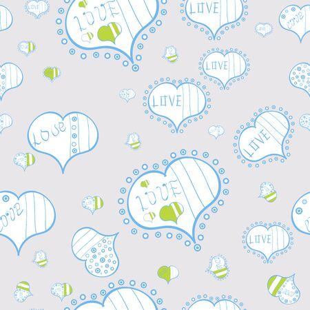 Background of big and small hearts with swirls in blue, gray and white colors. Love background. Vector illustration. Seamless Love pattern.