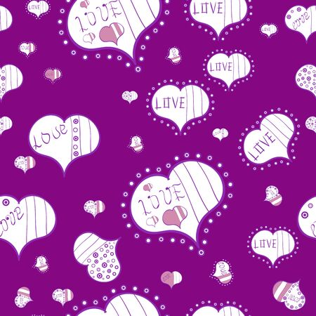 Seamless pattern with Ethnic Hearts, in retro 80s style for fabric print, paper print and website backdrop. White, violet and purple Vector illustration. Valentines Day.