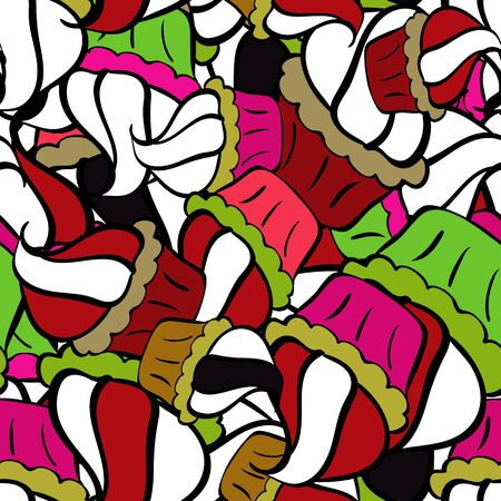 Nice pattern for wrapping paper vector. Sketch cute background. Doodles white, black and red on colors.