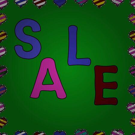 Vector illustration. Summer sale banner background. Seamless. Cute design for banner, flyer, invitation, poster, web site or greeting card. Illustration on magenta, black and green colors.
