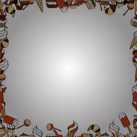 Picture in orange, white and beige colors. Hand drawn doodle frames. Vector.