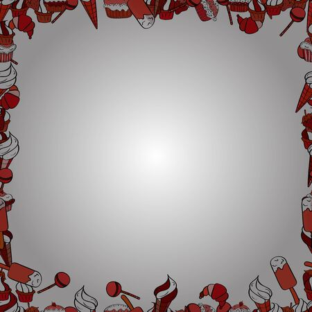 Vector. Hand drawn doodle frames. Picture in red, black and white colors.