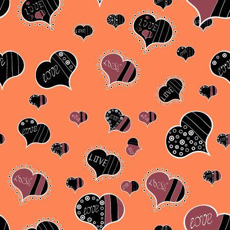Seamless love pattern. Love repeated backdrop for girl, textile, clothes. Sketch heart elements on black, orange and red colors. Valentine:s day. Vector illustration. Wrapping paper. Ilustrace