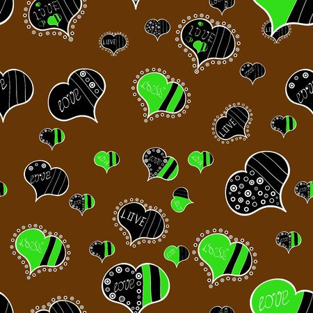 Love and Holiday theme. Vector illustration. Happy Valentines day. Seamless pattern with realistic beautiful black, brown and green heart. Ilustrace