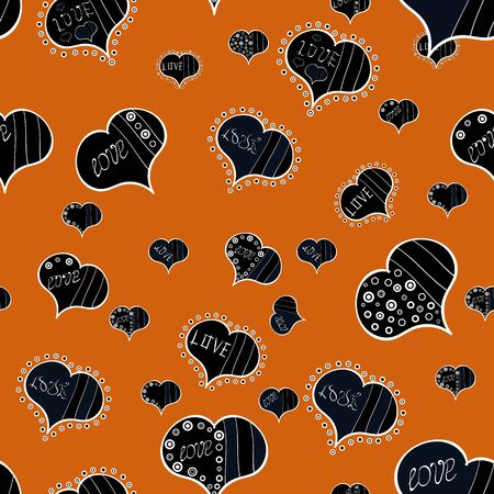 Gray, orange and black. Seamless pattern Beautiful handdrawn seamless with hearts. Vector. Happy Valentine:s Day. Festive love background. Perfect design element for wallpaper, wedding invitation. Ilustrace