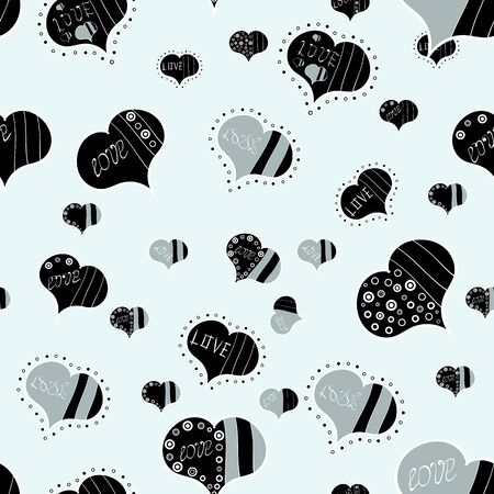 Vector illustration. Valentines Day. Pattern for wrapping, cover. Elements on gray, neutral and black colors. Seamless Hearts pattern. Typography lettering poster. Ilustração
