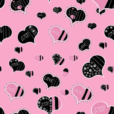 Symbol valentines day. Swirls in black, white and pink colors. Seamless love pattern with cute lettering calligraphy text and hearts, envelopes, doodles. Vector heart. Border wedding.